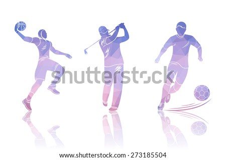 Vector set of polygonal shapes golfers, football and basketball. Triangular style players. Geometric outlines for flyers, cards and brochures. - stock vector