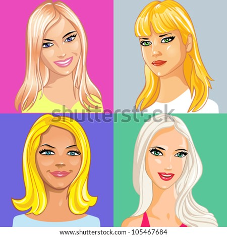 vector set of portrait of young attractive girl with long blonde hair - stock vector