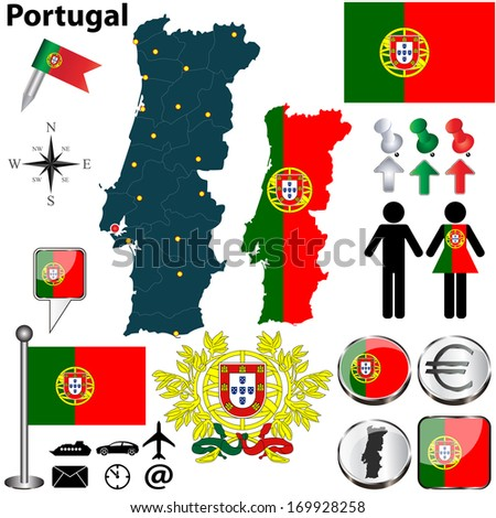 Vector set of Portugal country shape with flags, buttons and icons isolated on white background - stock vector