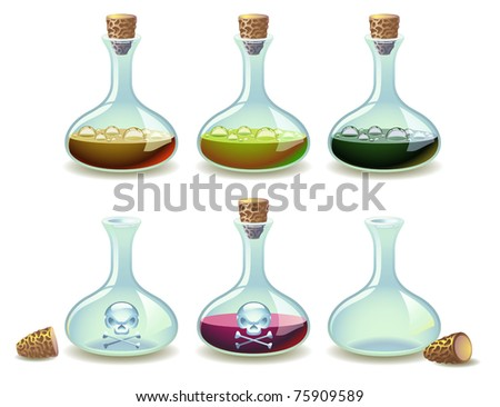 Vector set of potions and empty vials