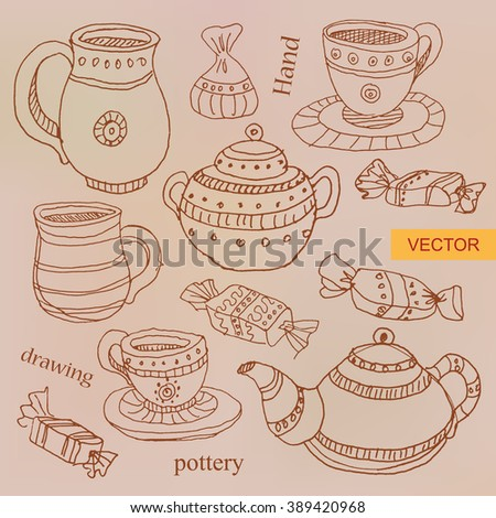 Vector set of pottery in ink hand drawn style. Collection of pottery. Vintage kettle, pitcher, saucer, mugs and candy. Vector illustration.