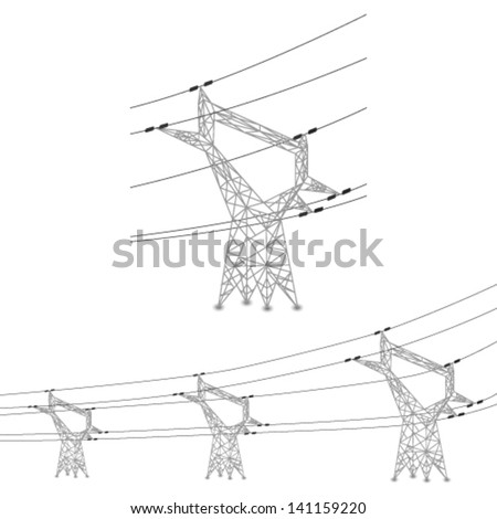 Vector set of power lines and electric pylons illustration - stock vector