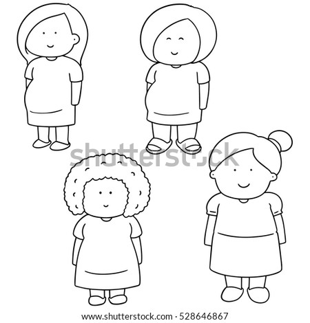 vector set of pregnant woman