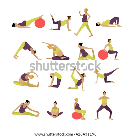 Vector set of pregnant women are doing exercise and yoga. Design elements and icons isolated on white background.