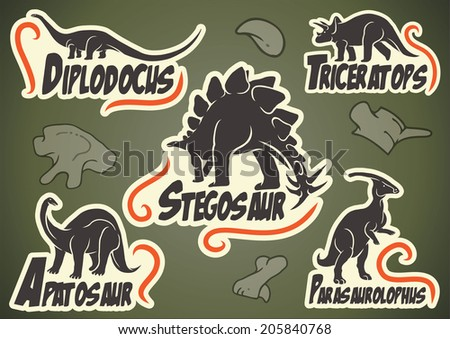 Vector set of prehistoric dinosaur animal labels