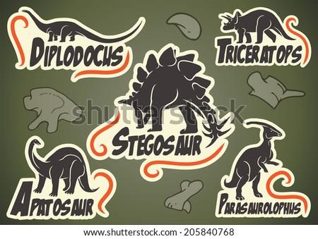 Vector set of prehistoric dinosaur animal labels - stock vector