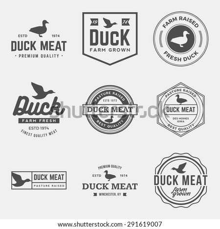 vector set of premium duck meat labels, badges and design elements