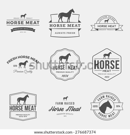 vector set of premium horse meat labels, badges and design elements  - stock vector