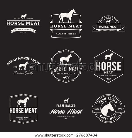 vector set of premium horse meat labels, badges and design elements with grunge textures - stock vector