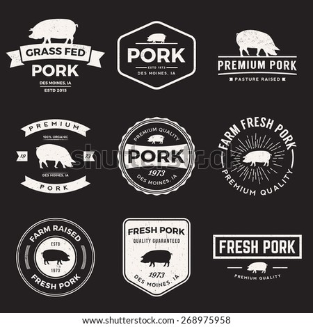 vector set of premium pork labels, badges and design elements with grunge textures