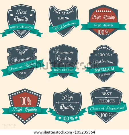 Vector set of Premium Quality labels