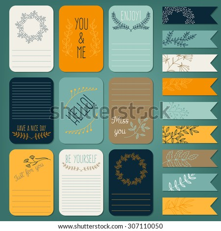 Vector set of printable note cards, stickers and tags with inscriptions and floral drawings - stock vector