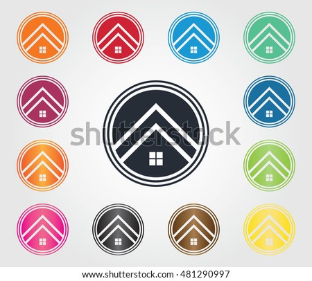 Vector set of property logos, home, house, roof and construction building