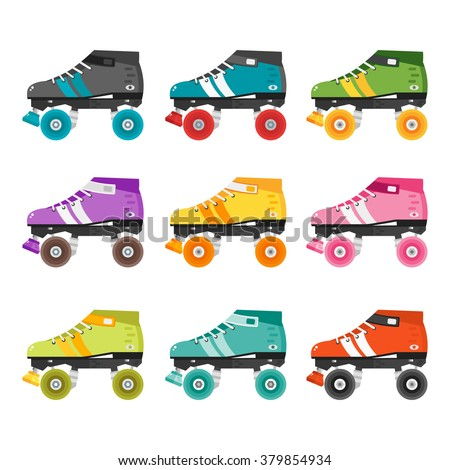 Vector set of quad roller skates. Illustration with colorful roller derby skates. Skating flat icons isolated on white background. Collection of retro roller skates.  - stock vector