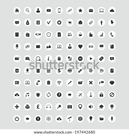Vector set of 100 quality round Icons for web and mobile applications. Collection of business, banking, marketing, science, education, ecommerce, finance, money, office, multimedia items and etc.