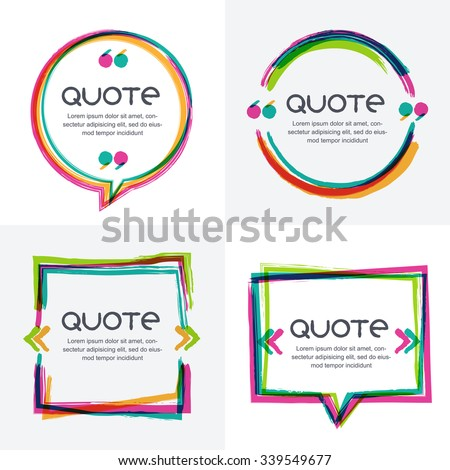 Vector set of quote forms template colorful bright backgrounds