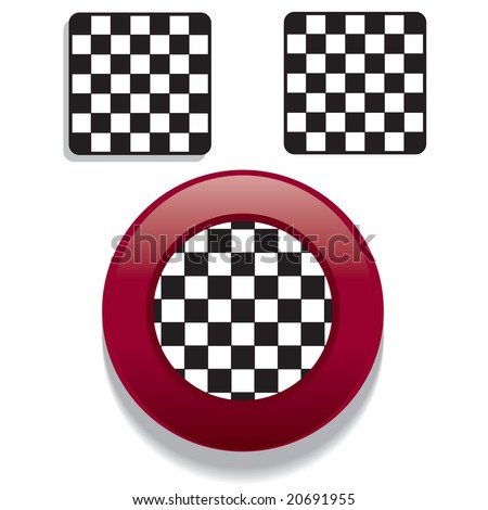 Vector set of racing checkered flag buttons in glossy / shiny Web 2.0 style - stock vector