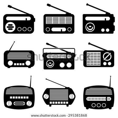 vector set of radio icons - stock vector