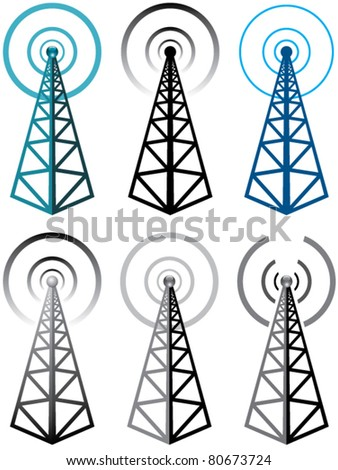 vector set of radio tower symbols - stock vector