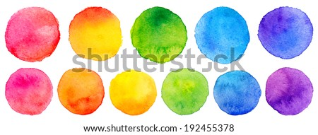 Vector set of rainbow watercolor circles - stock vector