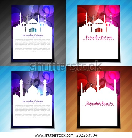 vector set of ramadan kareem brochure and template flyer design illustration - stock vector