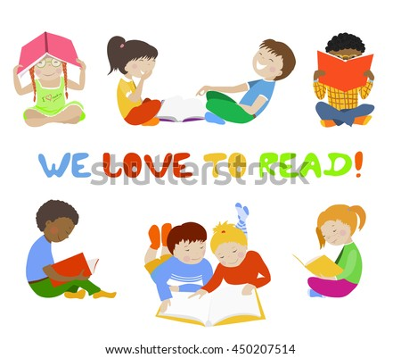 Vector set of reading kids. Collection of children with books. We love to read concept. For learning center, book store, kid education banners, posters. - stock vector