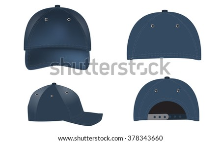 Vector set of realistic blue baseball caps - front, back and side views. Summer cap. Realistic shadow and lighting color effects - stock vector