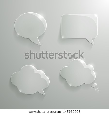 Vector Set of Realistic Glass Speech Bubbles