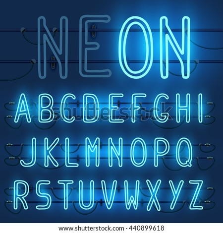 Vector set of realistic neon letters of the english alphabet with wires on blue background. Glowing neon light latin alphabet font. Type letters, neon tube letters on dark background. Lights on or off - stock vector