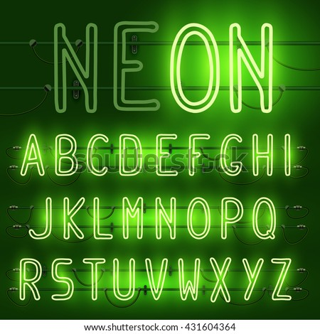 Vector set of realistic neon letters of the english alphabet with wires on green background. Glowing neon light latin alphabet font. Type letters, neon tube letters on dark background. Lights on, off - stock vector