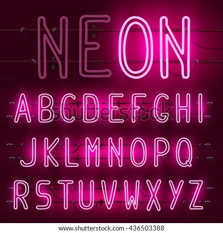 Vector set of realistic neon letters of the english alphabet with wires on red background. Glowing neon light latin alphabet font. Type letters, neon tube letters on dark background. Lights on or off - stock vector