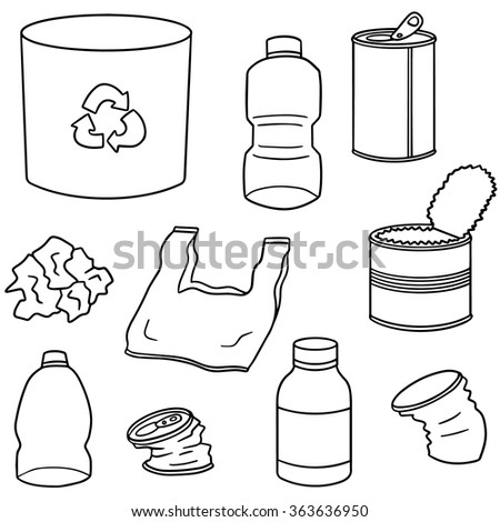 vector set of recycle garbage - stock vector