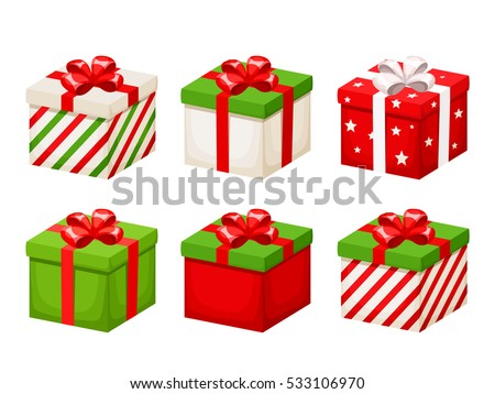 Set vector icons flat style christmas 339877643 vector set of red and green christmas gift boxes with ribbons and bows isolated on a negle Images