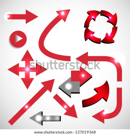 Vector set of red arrow