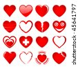 Vector set of red hearts in different shapes and styles on a white background. JPG and TIFF versions of this image are also available in my portfolio. - stock photo
