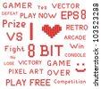 Vector set of red pixel art games slogans - stock vector