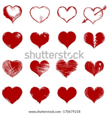 vector set of red sketch hearts - stock vector
