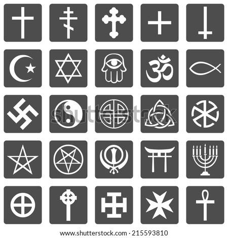 Vector Black Religious Symbols Set Stock Vector 326086469 Shutterstock