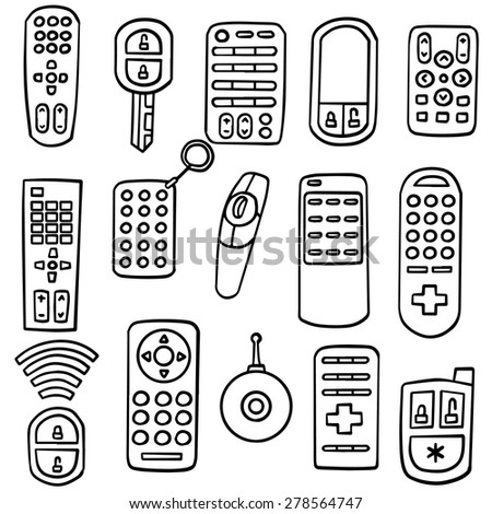 remote control drawing. vector set of remote control drawing