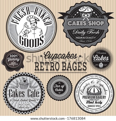vector set of retro badges for cakes