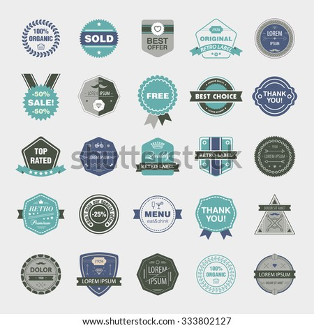 Vector set of retro badges, vintage labels, icons isolated. Easy editable