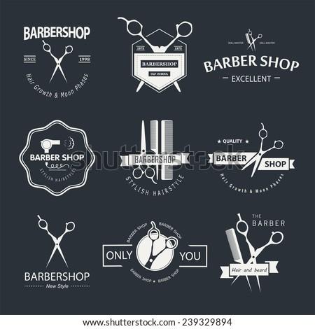 Vector set of retro barber shop labels, logo, badges and design element.  - stock vector