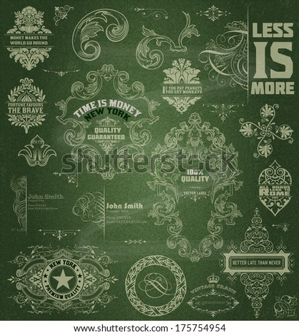Vector. Set of retro elements: baroque frames, retro labels. Chalk style - stock vector