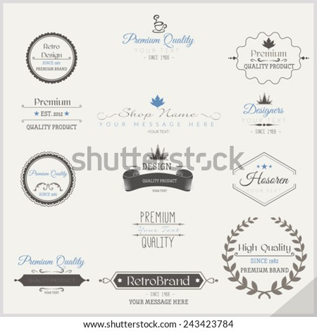 Vector set of retro labels - stock vector