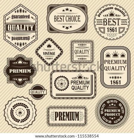 Vector set of retro labels and icons - stock vector