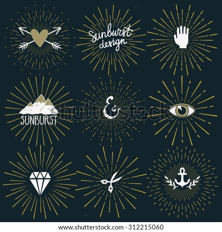 Vector set of retro sunburst shapes and elements for your design. Collection of vintage light rays and hipster icons. Hand drawn logos. Trendy design elements. - stock vector