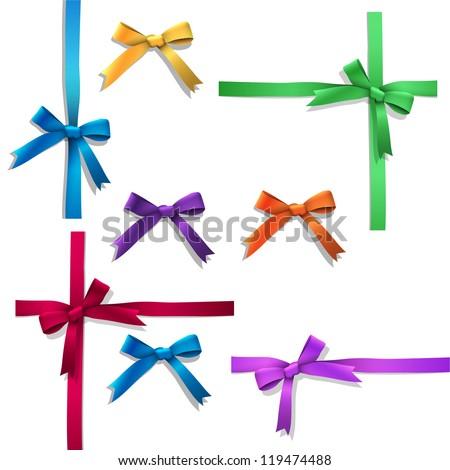 Vector set of ribbon bows - stock vector