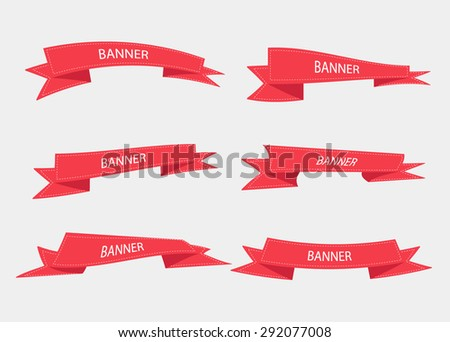 vector set of 6 ribbons - stock vector