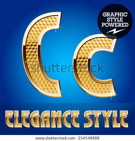 Vector set of rich shining alphabet with golden border. Letter C - stock vector