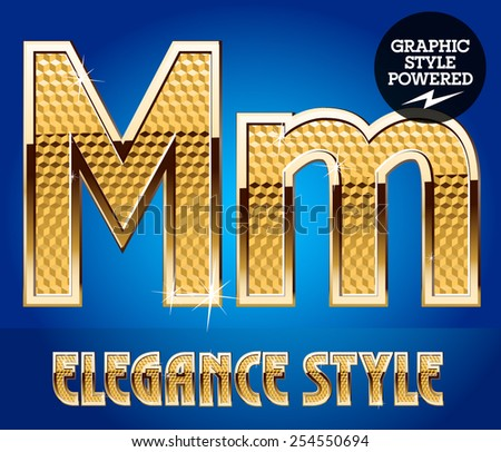 Vector set of rich shining alphabet with golden border. Letter M - stock vector
